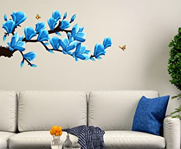 Buy Decals Design Floral Branch with Realistic Flowers Wall