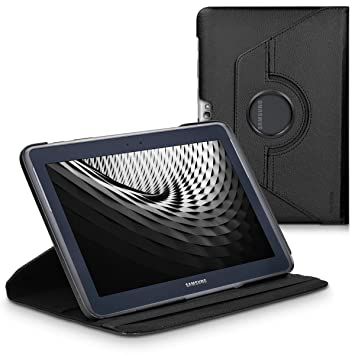 kwmobile Funda compatible con Samsung Galaxy Note 10.1 N8000 / N8010 - Carcasa de cuero sintético para tablet en negro