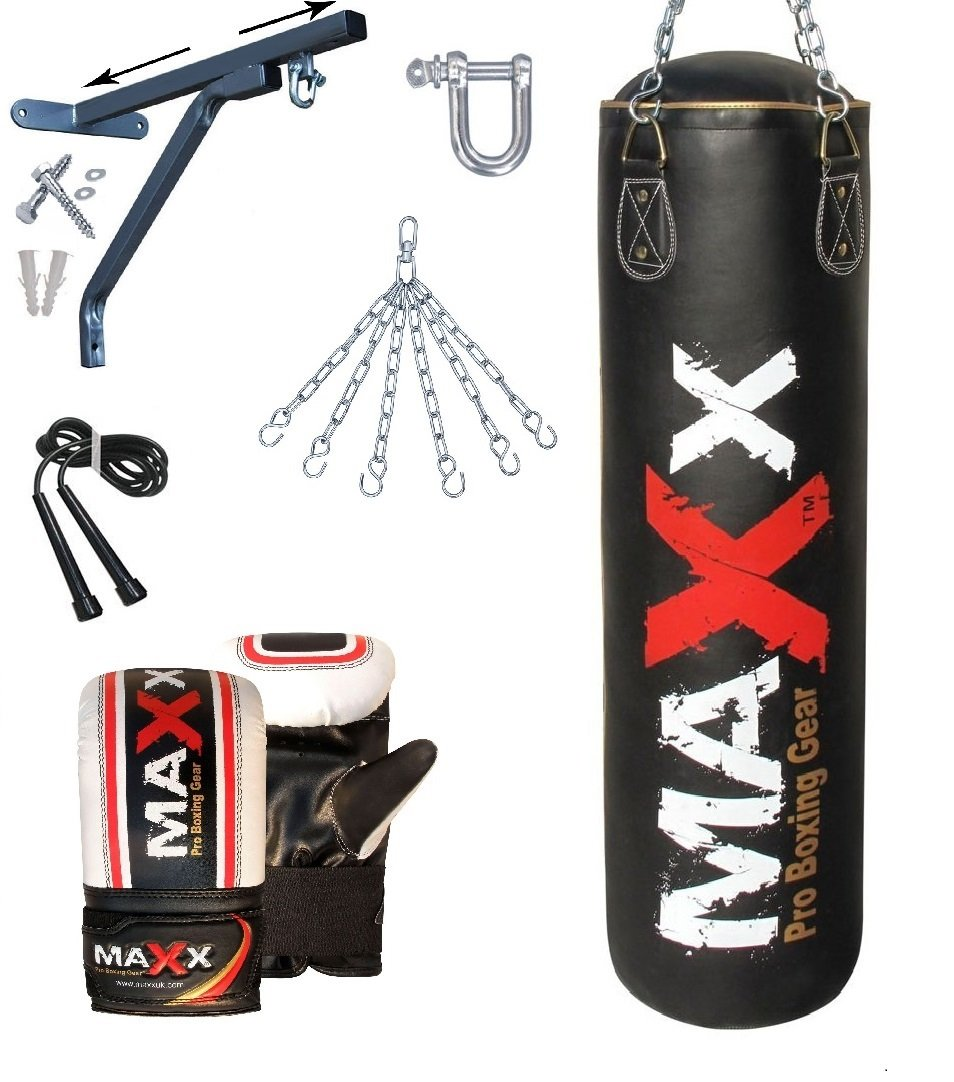 Maxx Punchbags –  Juego de saco de boxeo con soporte de pared o gancho o juego de 12 unidades, incluye cadena, tamañ os 1,5, 1,22 y 91 cm., bracket Mitts rop Sportsmaxx Ltd