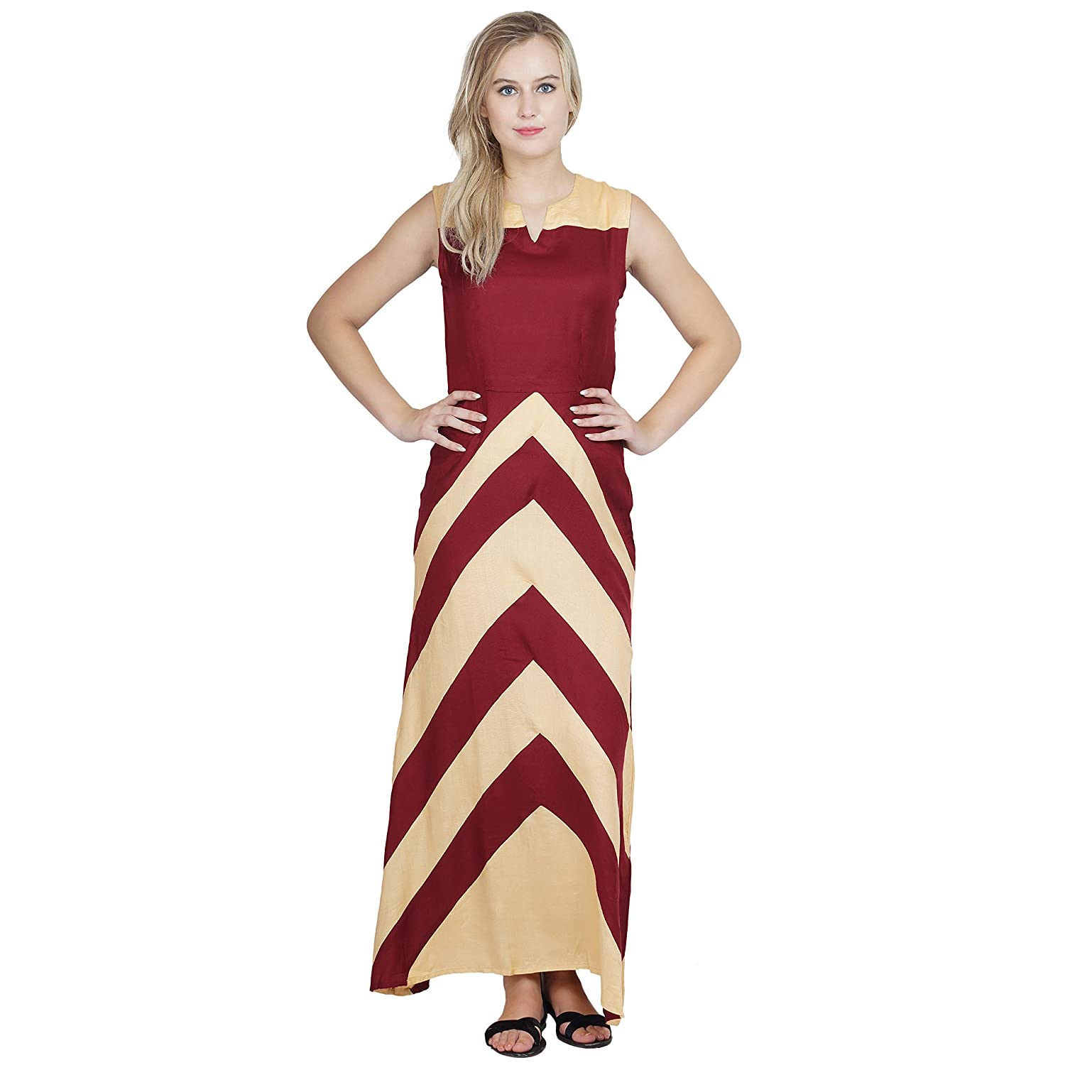 0c8e7cc47a Patrorna Blended Women s Empire Nighty Night Dress Gown in Maroon Gold (Size  S-7XL