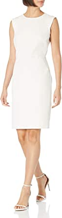 ANNE KLEIN Women's Sheath Dress with Extended Shoulder, RAINSHADOW/Anne White, 4