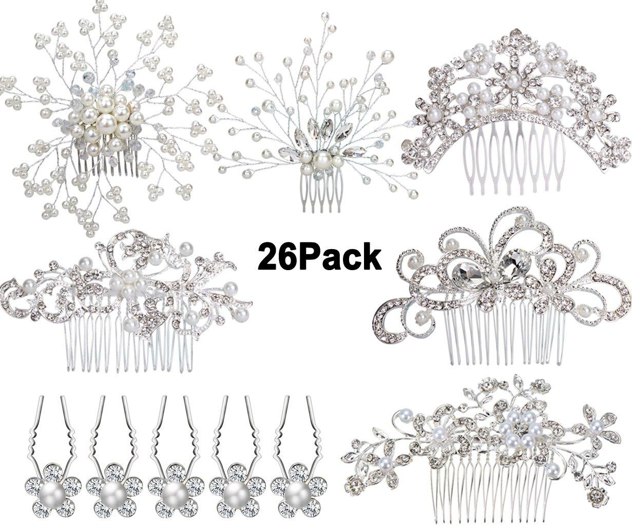 6pcs Bridal Wedding Hair Combs+20pcs Crystal Hair Pins Hair Clips for Women Bridal Wedding Headpiece for Bridesmaids by Jaciya