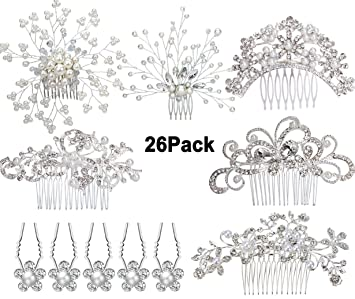 6x New Bridal blue flower Rhinestone Crystal Hair Pins
