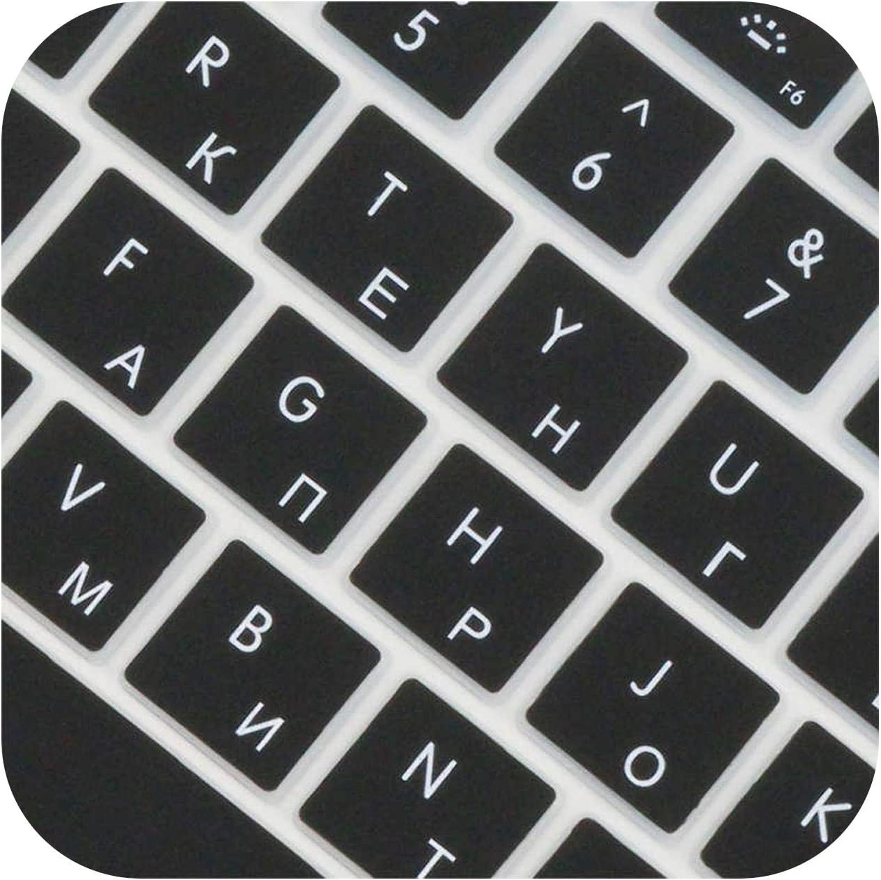 All-Equal 14 Color EU Russian Language Letter Keyboard Cover Sticker for MacBook for Air 13 Pro 13 15 17 Retina Sticker-Black