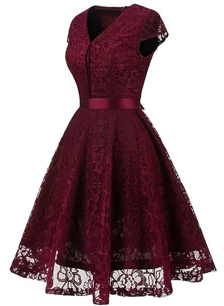 MuaDress Fashion Vestido Corto De Fiesta Elegante Mujer De Encaje Escote en V Estampado Flor Vestido Boda Cóctel: Amazon.es: Ropa y accesorios