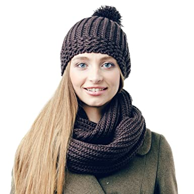 d1e54e1f9 Ladies Womens Wooly Hat Scarf Set Snood Grey, Navy Blue, Brown, Pom Pom  Cable knit warm Beenie