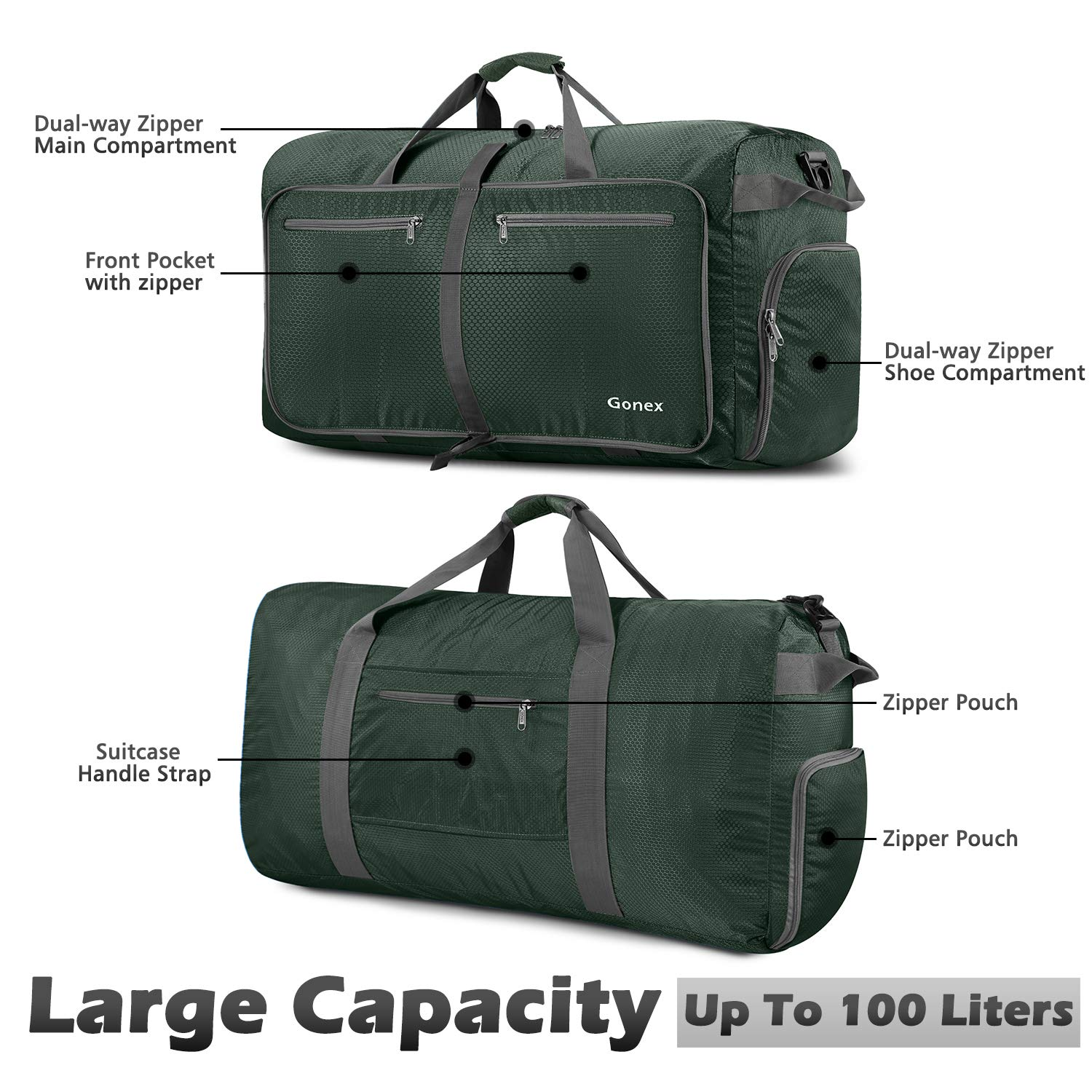 Gonex 100L Foldable Travel Duffel Bag for Luggage Gym Sports, Lightweight  Travel Bag with Big Capacity, Water Resistant (Dark Green)  Amazon.in   Bags, ... ae1f80764e