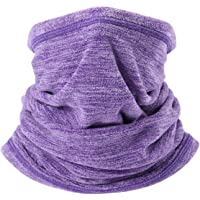 AYPOW Fleece Neck Warmer, Winter Warm Versatile Neck Warmer Extra Long Thick Neck Tube Windproof Balaclava Hood(Purple Color) - Elastic Universal Size
