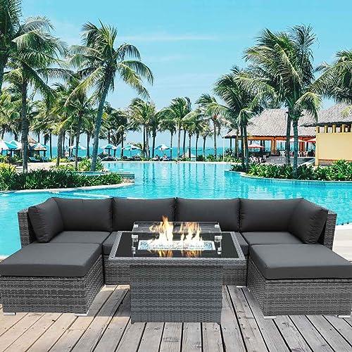 NICESOUL 118''L PE Rattan Patio Furniture Sectional Sofa Set