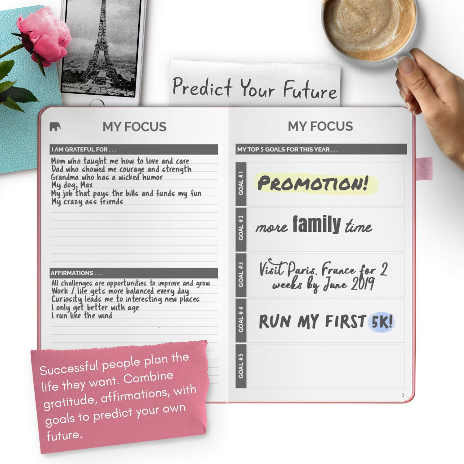 Simple Elephant Planner - Daily and Weekly Agenda for Achieving Goals and Living Happier - Gratitude, Mindmap, Vision Board and Journal - Undated - 12 ...