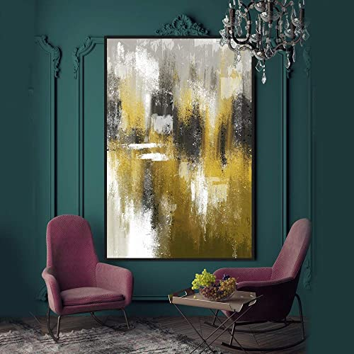 SIGNWIN Framed Canvas Wall Art Gold and Black Texture Abstract Line Canvas Prints Colorful Multicolor Home Artwork Decoration