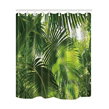 KOTOM Tropical Shower Curtains Leaves Artificial Rainforest Foliage Palm Leaf In Jungle Nature