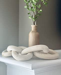 Wood Chain Link Decor, Wood Decor, Mantle Decor, 5 Wood Chain Links, Rustic Modern Home Decor , Natural Wood Decor, Entryway Decorations, Modern Coffee Table, Carved Wood Decorations