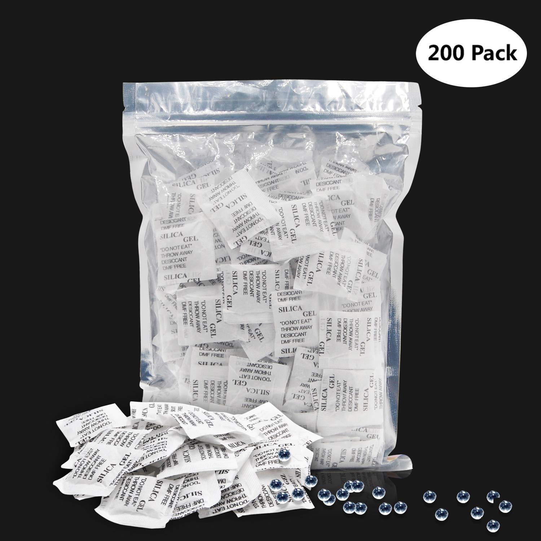 Bolsas de gel de sílice, 200 x 1 g, deshumidificador de cristal, pack para armario de alimentos, pequeño espacio absorbente de humedad
