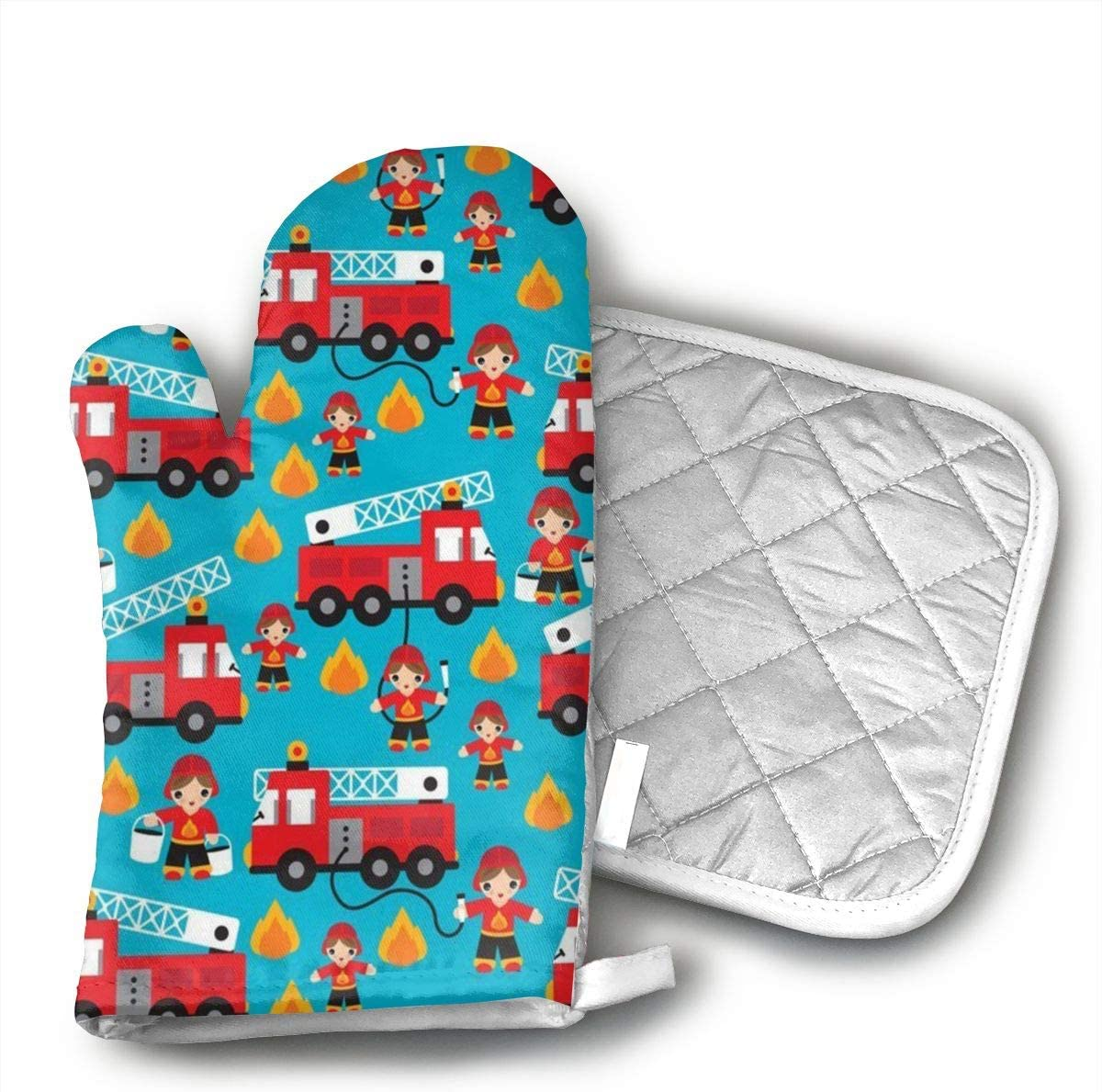 Star Blue Design Fire Truck and Hero Boys Car Oven Mitts & Heat Resistant Pot Holder - with Polyester Cotton Non-Slip Grip, Best Used As Baking, Grilling, BBQ, Cooking, Kitchen Or Oven Gloves