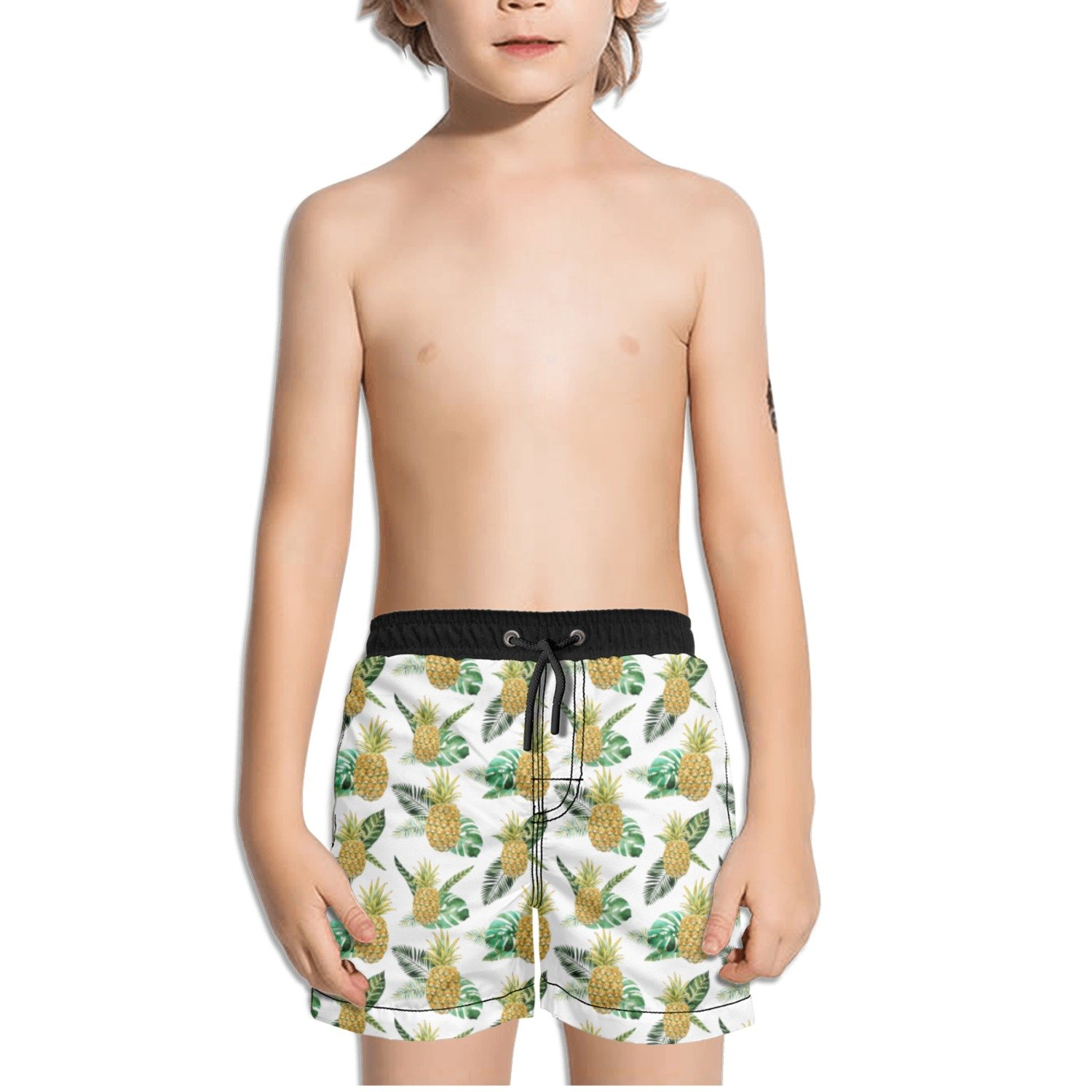 Trum Namii Boys Quick Dry Swim Trunks Golden Tropical Pineapple Shorts
