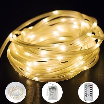 100er Led Lichtschlauch 10m Lichterschlauch Warmweiss 8 Modi Mit