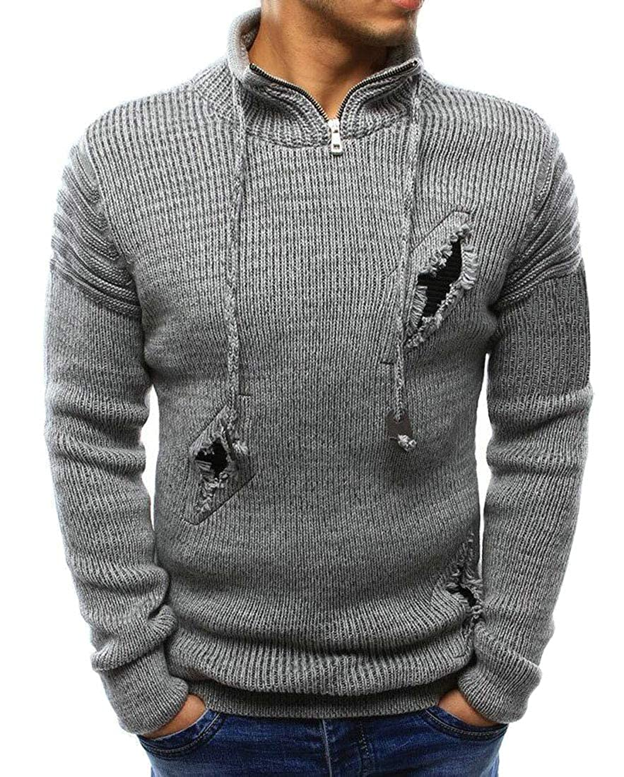 Rrive Men Zipper Destroyed Ripped Hole Drawstring Basic Pullover Sweater