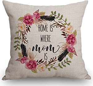 SSOIU Decorative Pillow Cover - Gift for Mom - Mother's Day - Home is Where Mom is - from Daughter - Gift for Grandma Decoration Home Decor Cotton Linen Cushion Case for Sofa Couch