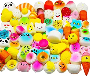 Huastyle Random 30pcs Squishies Toys Jumbo Medium Mini Slow Rising Kawaii Squishy Cake/Panda/Bread/Buns Phone Straps for Treasure Box Prizes Classroom