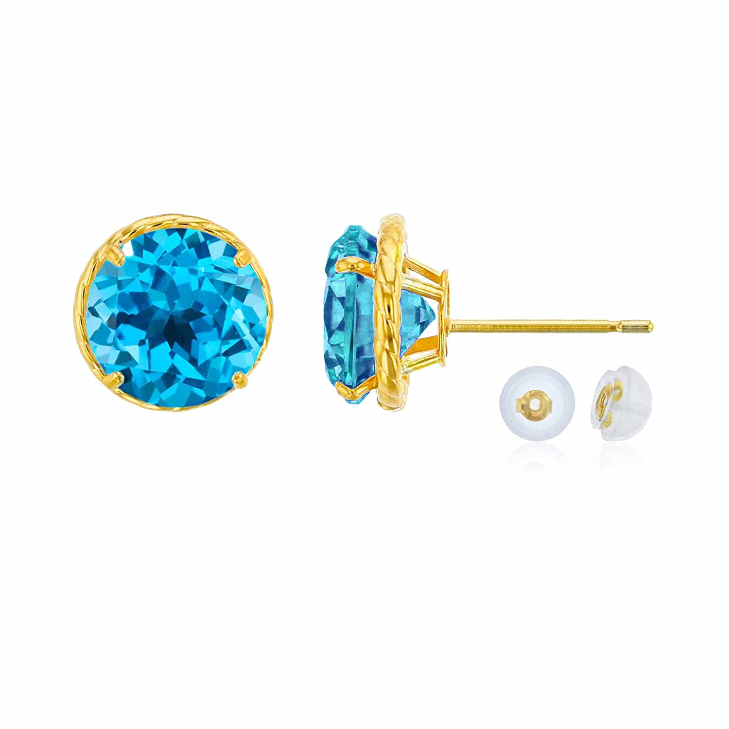 10K Yellow Gold 7mm Round Swiss blue topaz Rope Frame Stud Earring with Silicone Back