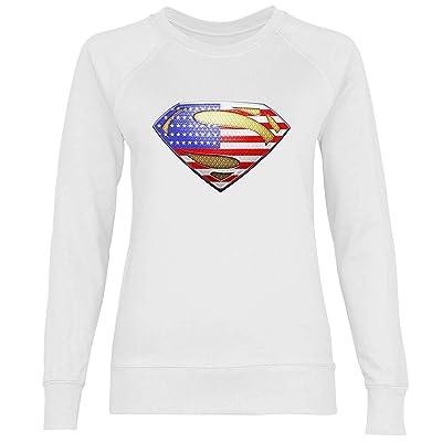 wowshirt Sudadera Sello Americano USA Barras y Estrellas de la Bandera para Mujer: Ropa y accesorios
