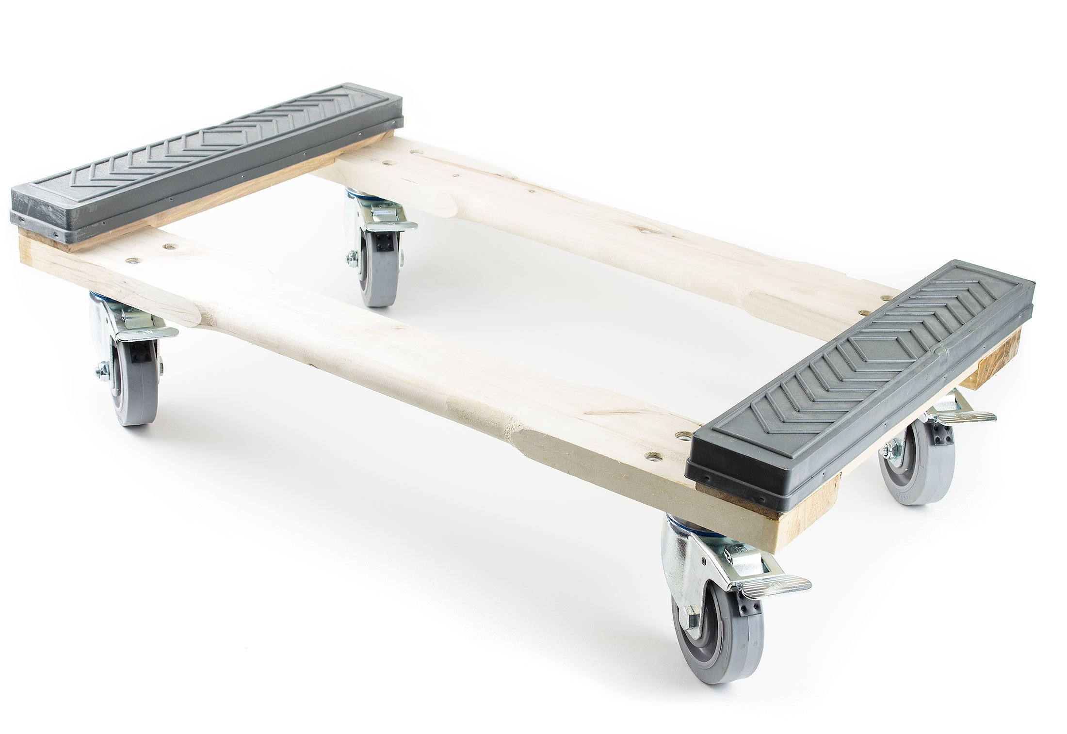 NK Furniture Movers Dolly, Rubber End Caps, Soft Gray Non-marking TPR Wheels, 30'' Length x 17'' Width (5'' TPR Wheels with Brakes)