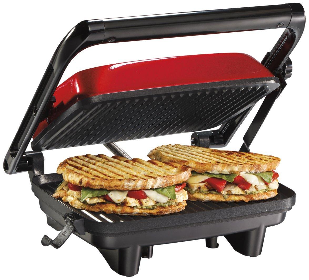 Hamilton Beach 25462Z Panini Press Gourmet Sandwich Maker Renewed