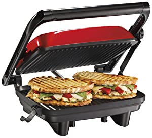 Hamilton Beach 25462Z Panini Press Gourmet Sandwich Maker (Renewed)