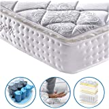 Vesgantti Pillow Top Series 10.6 Inch Classic 4FT6 Double Multilayer Hybrid Mattress/Ergonomic Design with Soft Fabric and Comfort Foam Pocket Spring Orthopaedic Mattress/Medium to Firm