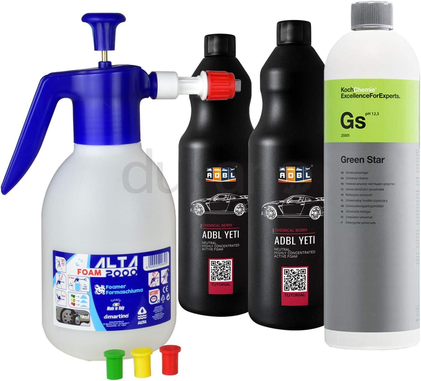Alta Foam 2000 Foamer Schaumsprüher 2 Liter Koch Chemie Green Star 2x Adbl Reinigungsschaum I 4 Teiliges Reinigungs Set Auto