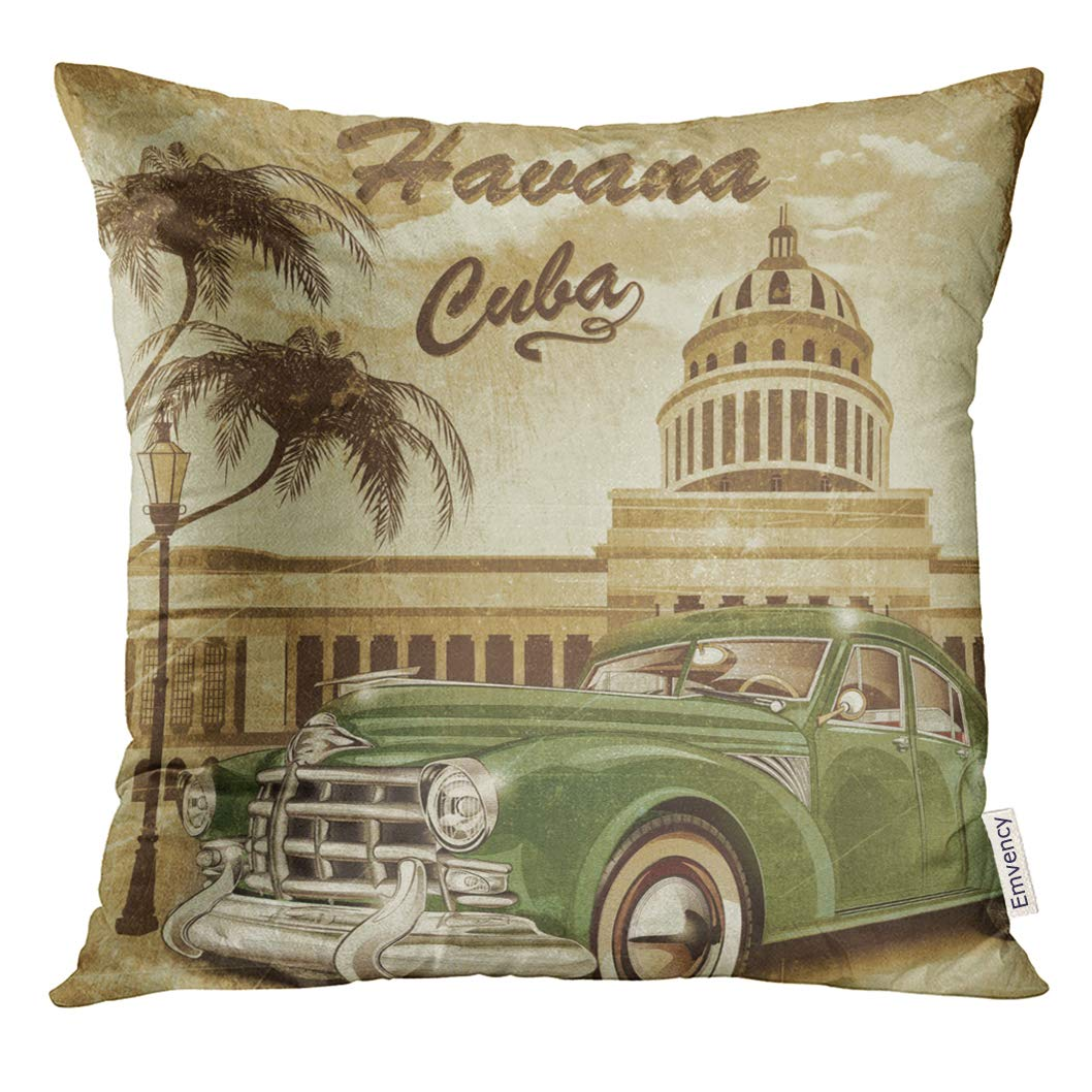 Golee Throw Pillow Cover Havana Cuba Retro 1950S 1960S Decorative Pillow Case Home Decor Square 18x18 Inches Pillowcase