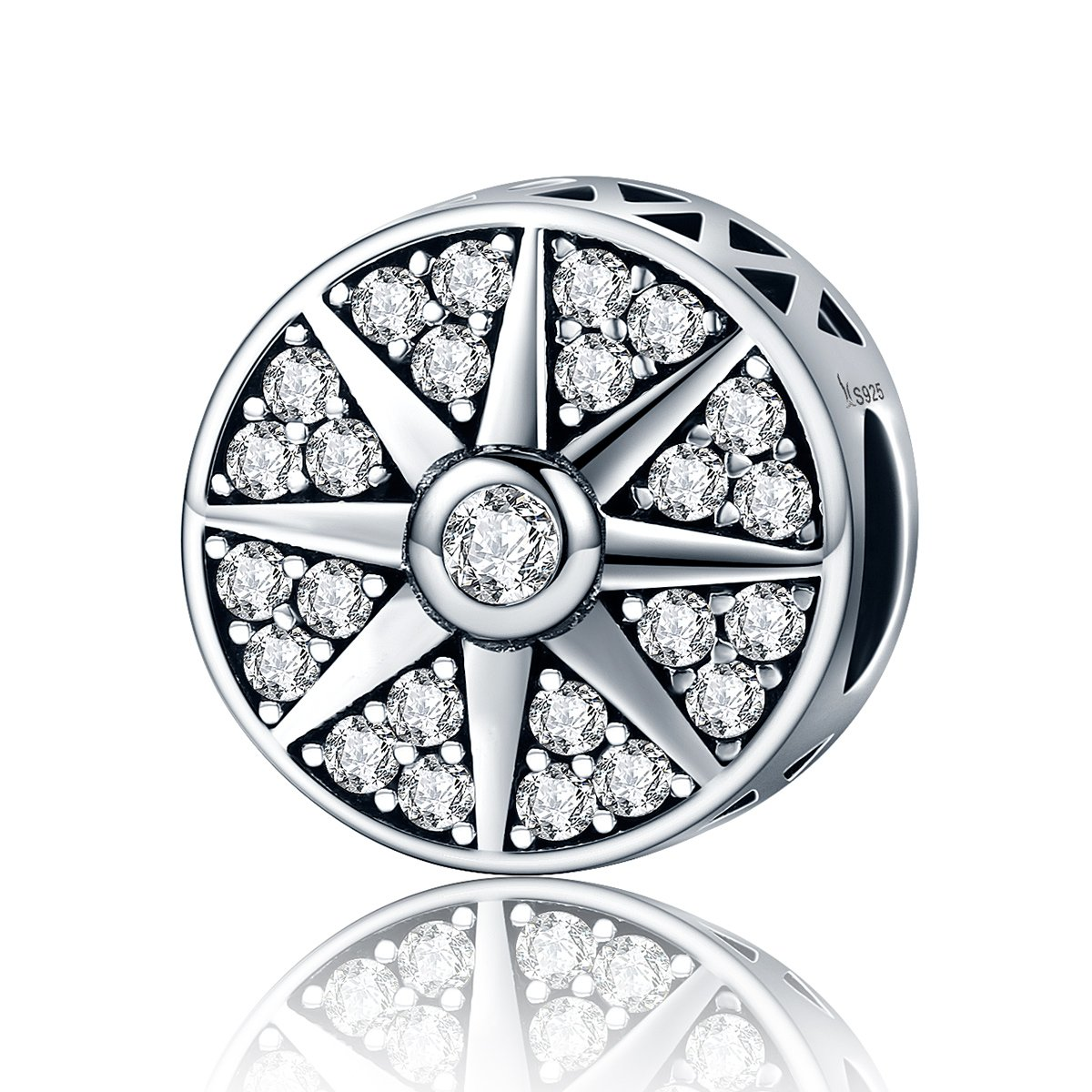 BAMOER 925 Sterling Silver Glaring Sun Round Charm for Women Clear Zircon Crystal Bead Charm