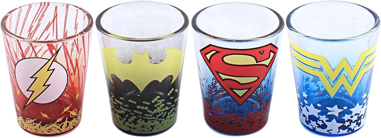 4-Pack Silver Buffalo DC Comics Character Ombre Logo Fade Mini Glass Set