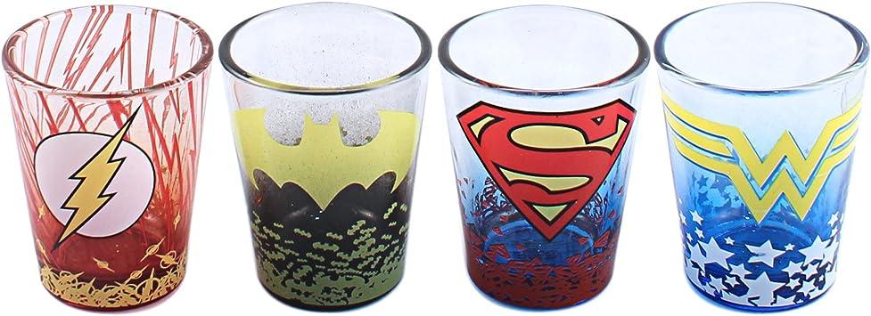 Superman Vaso Zumo Vasos Juego de 4 Batman vs