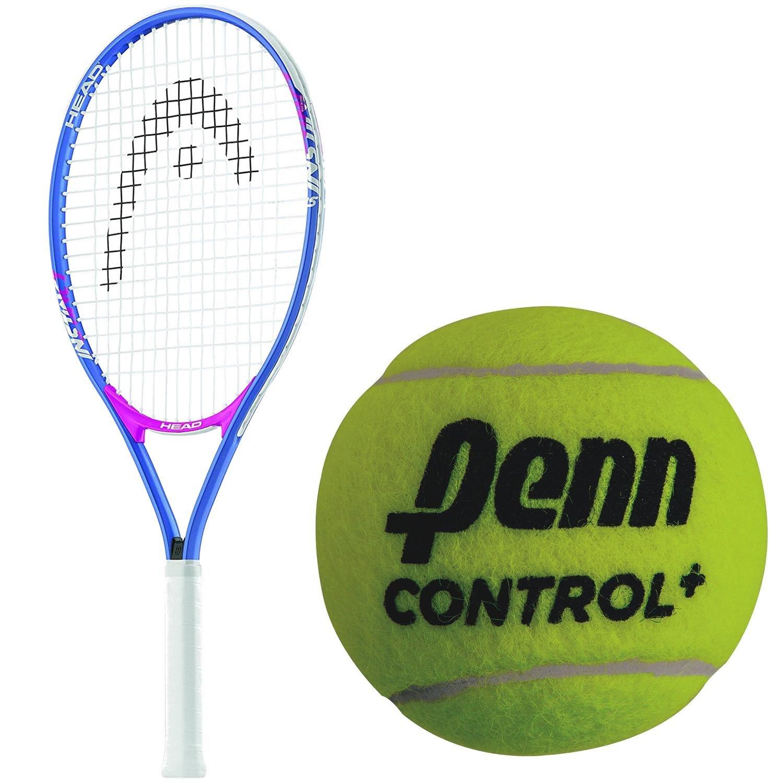 HEAD Instinct 25 Inch Junior Girl's Blue/Pink Tennis Racquet bundled with a 3 Pack of Penn Control+ Green Dot Tennis Balls
