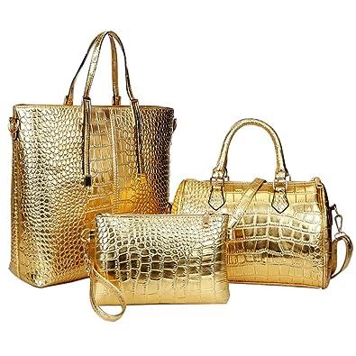 b3e437cc6012 Goodpro Women Handbag Women Bag Crocodile PU Leather 3 Pcs Tote Handbag  Purse Set GP102 (
