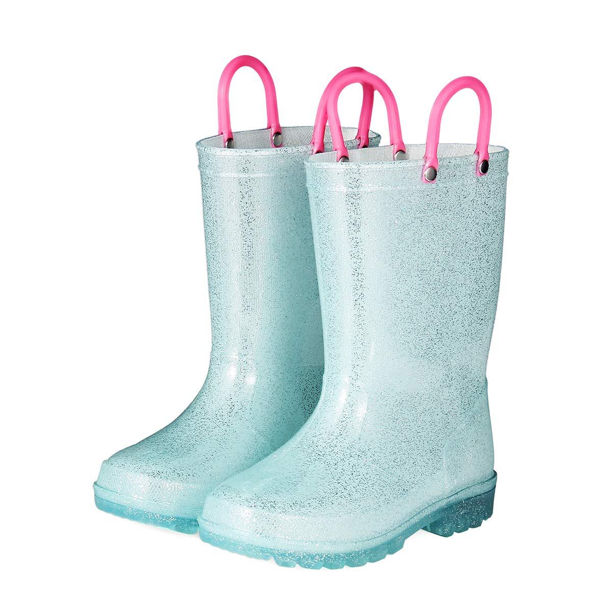 KomForme RPGL054-1M K Light Up Kids Rain Boots Glitter Girl Boots Blue by KomForme (Image #2)