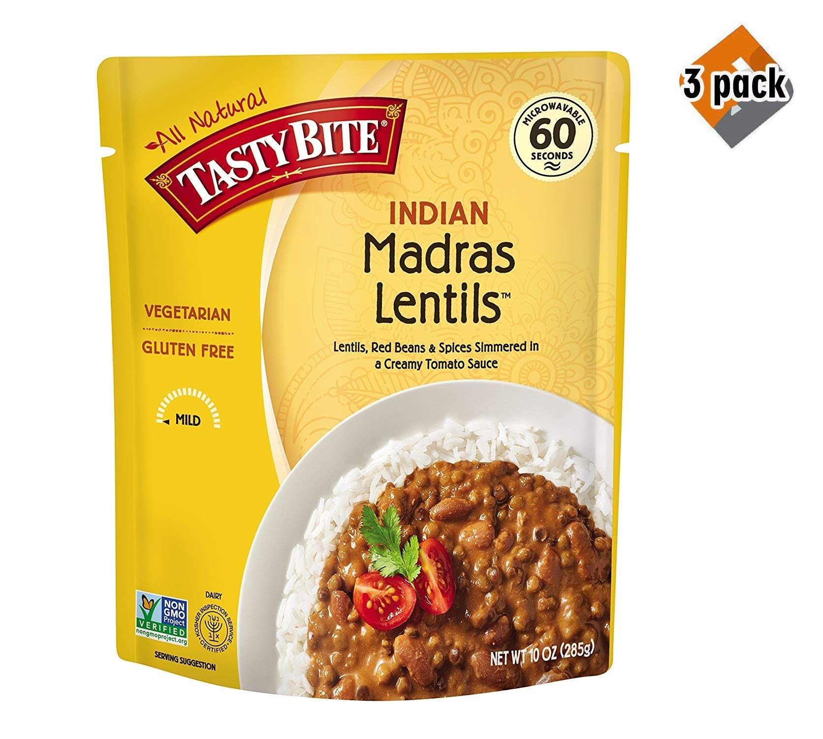 Tasty Bite Indian Entree Madras Lentils 10 Ounce (Pack of 6), Fully Cooked Indian Entrée with Lentils Red Beans & Spices in a Creamy Tomato Sauce, Microwaveable, Ready to Eat - 3 Pack