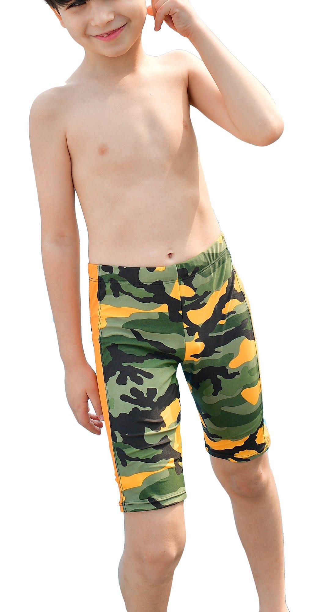 WUAMBO Boy's Kids Camouflage Swim Shorts Orange 8-10 Years (55-66lb)