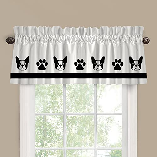 Boston Terrier Cutie Face Dog Window Valance Window Treatment – In Your Choice of Colors – Custom Made