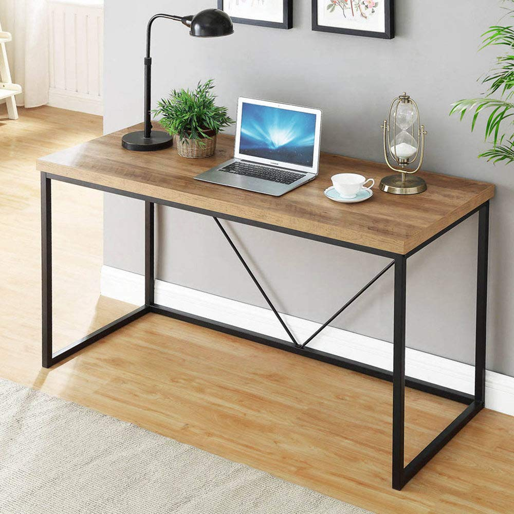 FOLUBAN Rustic Industrial Computer Desk,Wood and Metal Writing Desk, Vintage PC Table for Home Office, Oak 47 inch by Foluban