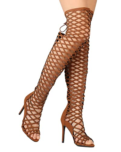 8b22e7000 Breckelle's Women Leatherette Thigh High Peep Toe Lace Up Cut Out Stiletto  Boot FI53 - Tan