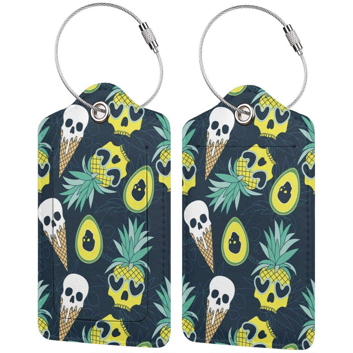 Lucaeat Fruit Repeat Pattern Luggage Tag PU Leather Bag Tag Travel Suitcases ID