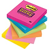 Post-it Super Sticky Notes, 3 in x 3 in, Assorted Bright Colors, 6 Pads, 90 Sheets/Pad (654-SSPK)