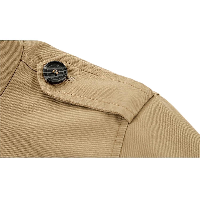 LEOCLOTHO Hombre Chaqueta de Estilo Militar Casual Multi-Bolsillo Collar del Soporte Invierno Parka Abrigo