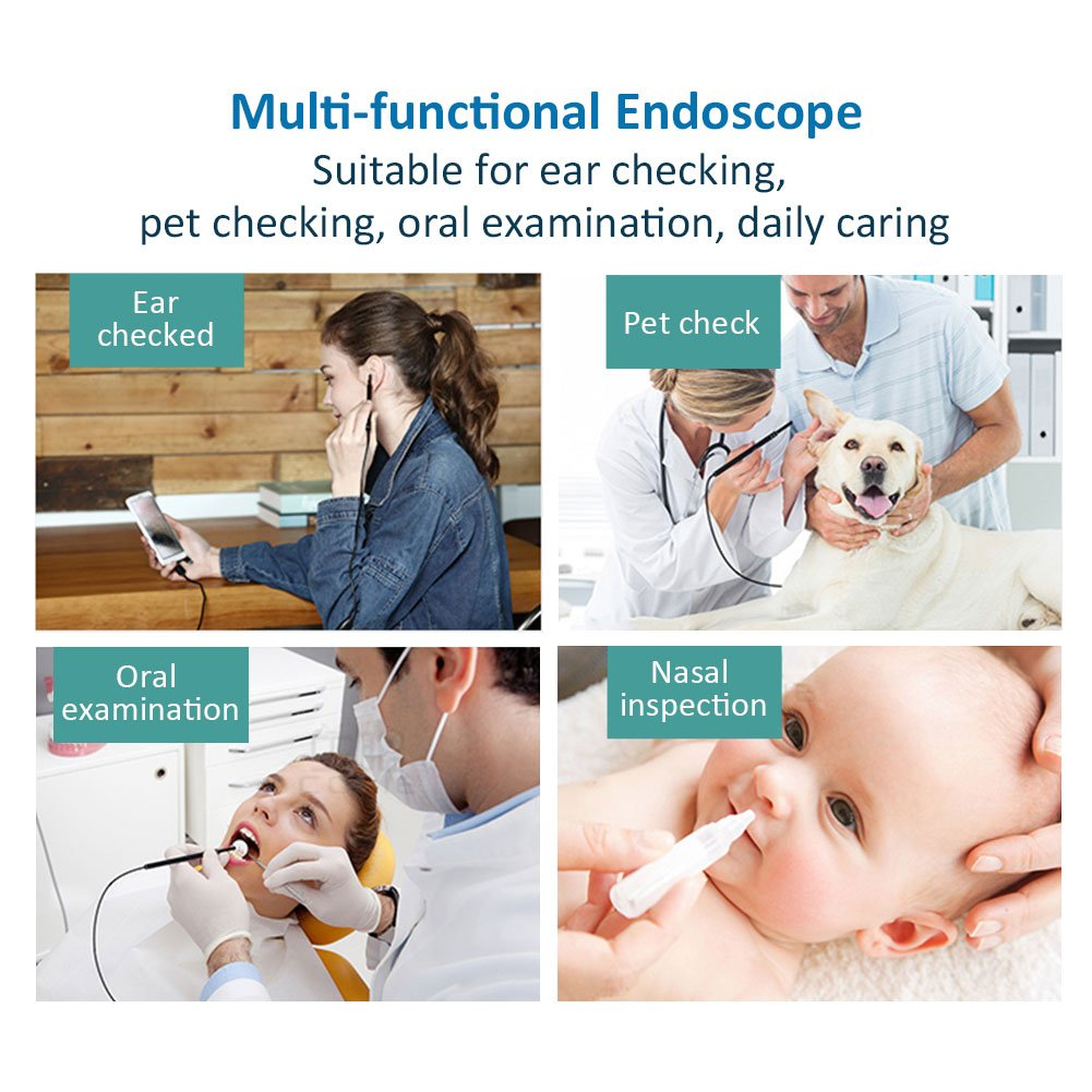 3 in 1 Ear Cleaner Endoscope, 720P HD Visual Earpick Tool Earwax Remover Ear Scope Inspection Tube Camera with 6 Led Adjustable Light for Micro USB Type-C Android Device with OTG, Windows, Mac PC by Eleshroom (Image #5)