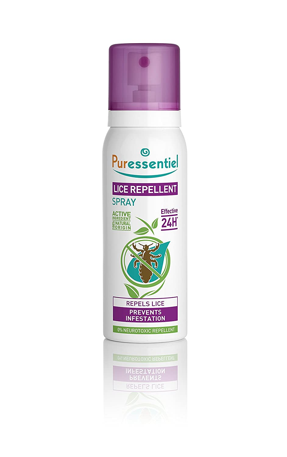 Puressentiel Lice Repellent Spray 75 ml - Head lice repellent - 24H effective protection - 100% natural origin, no neurotoxic repellent, non aerosol 4001178