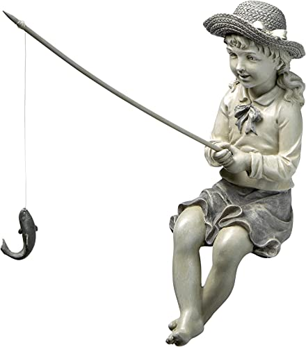 Design Toscano EU9305 Big Catch Fisherwoman Girl Fishing Garden Statue