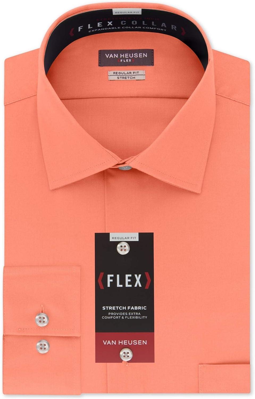 Van Heusen Mens Flex Collar Regular Fit Solid Spread Collar Dress Shirt 17.5 Neck 32-33 Sleeve Harvest Stretch